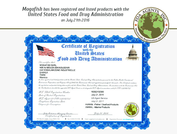 Mogafish has been registred and listed products with the United States Food and Drug Administration